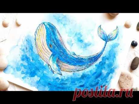 Восковые мелки + акварель! Как нарисовать кита восковыми мелками!