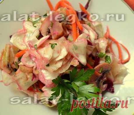 Салат с капустой и грибами по-корейски: рецепт с фото