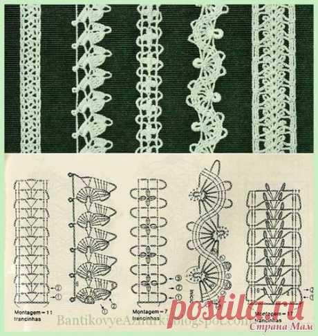 Схемы тесьмы крючком. Можно использовать для вязания бретелей топов и сарафанов