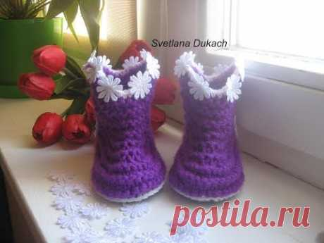 Baby Booties Crochet 👣 ПИНЕТКИ САПОЖКИ спицами 👶 KNITTING for New-Born 👣 ВЯЗАНАЯ ОБУВЬ