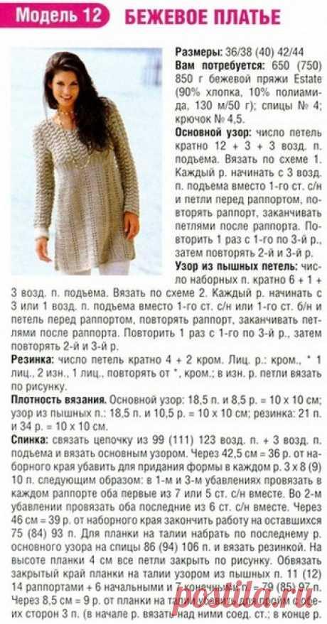 Теплая туника крючком схемы. Схема вязания и описание платья - туники спицами | Вязание для всей семьи