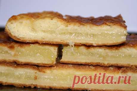 Слоёное творожно-дрожжевое тесто и лимонный пирог из него.