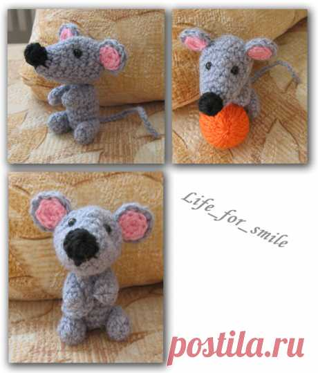 Knitted toy mouse. Master class! - knitting by a hook on kru4ok.ru