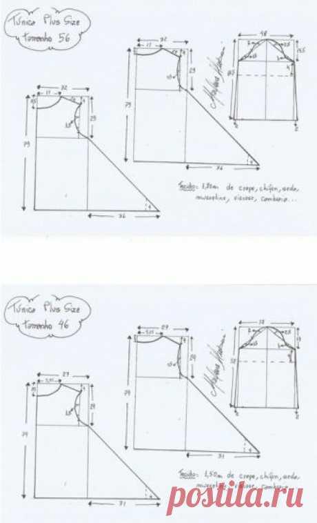 Los patrones de las túnicas de cualquier dimensión - cosemos rápidamente y fácilmente