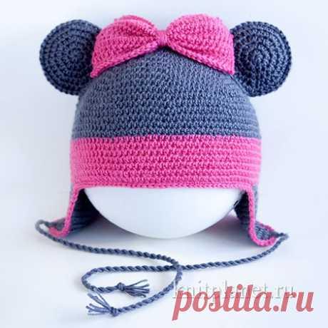 Планета Вязания | Шапочка Минни Маус крючком для девочки. Мастер-класс по вязанию.