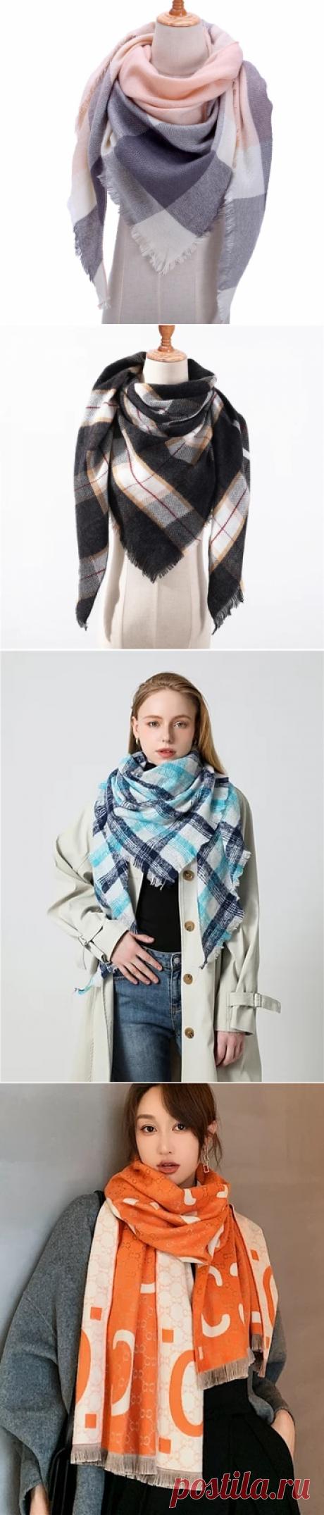 2020 бандана палантин платок на шею шарф зимний Дизайнер трикотажные весна зима женщины шарф плед теплые кашемировые шарфы платки люксовый бренд шеи бандана пашмина леди обернуть | scarf shawl | вязание из остатков пряжи | bandana wraplady bandana