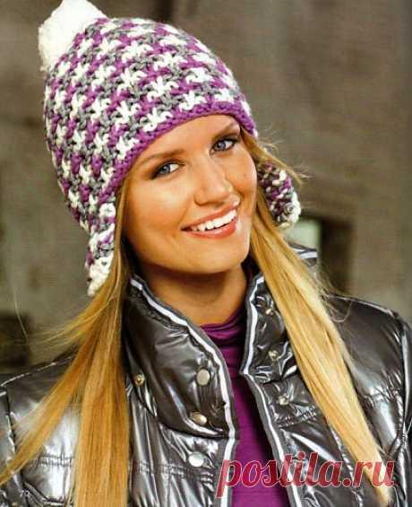 Женская шапка с наушниками, вязаная спицами | Вязание для Вас