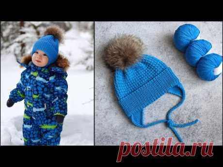 Детская шапка спицами   Детская шапочка с ушками и фиксированным отворотом