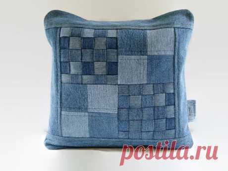 Джинсовая подушка для обложки 14 x 14 Декоративная подушка для обложки Upcycled