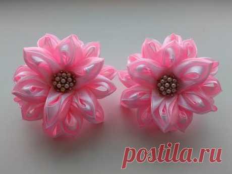 Красивые бантики из атласных лент 2,5 см. МК Канзаши / Beautiful bows of satin ribbons 2.5 cm.