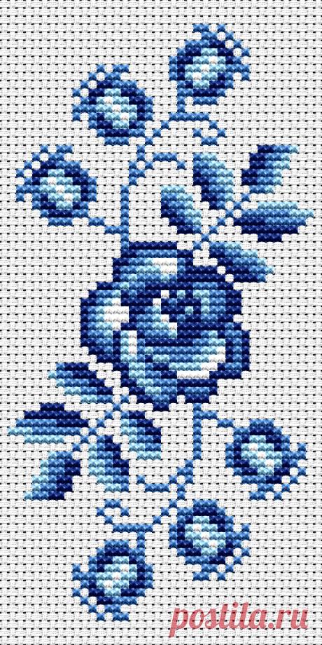 Схема вышивки цветочного мотива Гжель