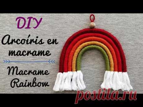 DIY como hacer un ARCOIRIS en MACRAME (paso a paso)/DIY Macrame Rainbow Wall Hanging (step by step)