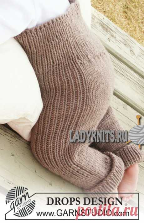 Вязаные спицами теплые детские штаны