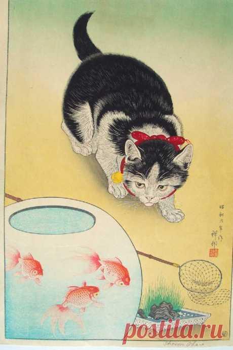 Кошки на японских гравюрах