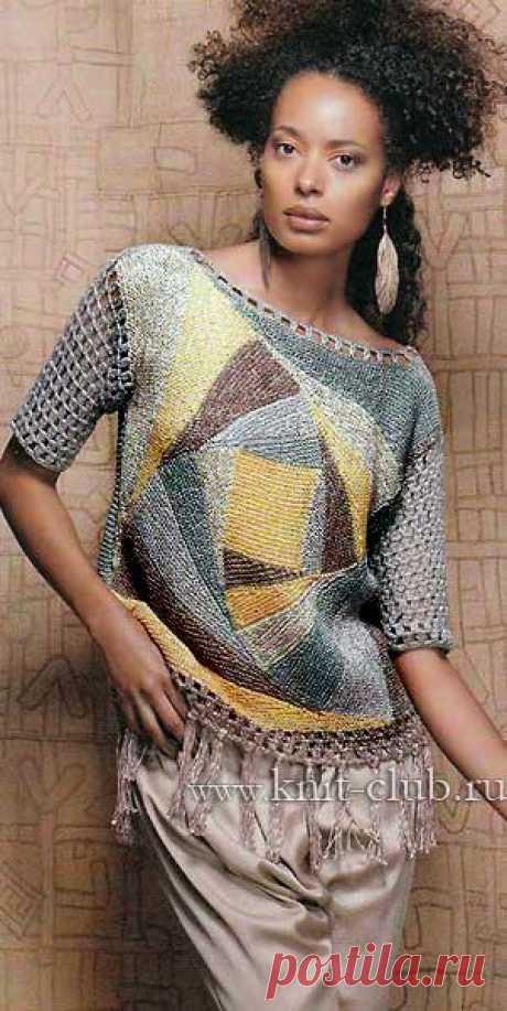 Пуловер в стиле пэчворк. Вязание спицами