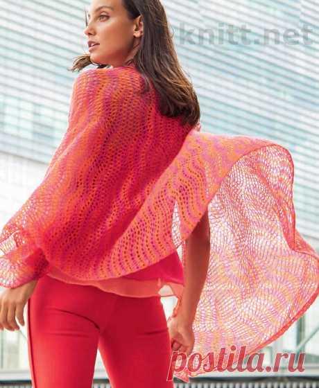 Воздушный палантин с ажурным узором Воздушный палантин с ажурным узором. Прекрасно дополнит длинное платье в стиле бохо. Тонкий палантин в розово- оранжевой гамме покорит вас