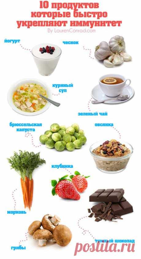 10 продуктов, быстро укрепляющих иммунитет (инфографика)