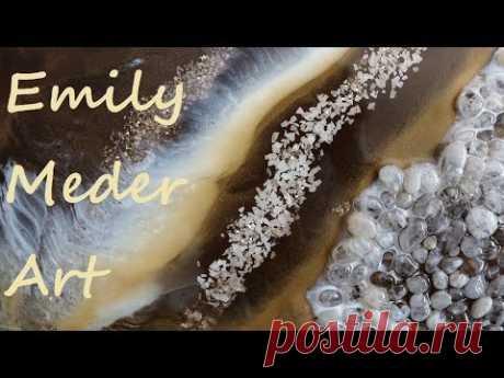 Geode Resin Painting Tutorial DIY! Gold, White, Brown. Challenge video!