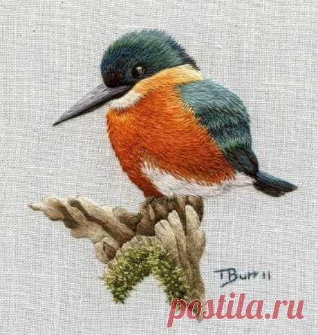 Птички - вышивка гладью от Триш Бурр