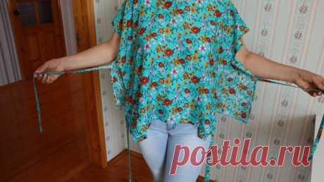 Сшила летнюю блузку всего за 225 рублей по выкройке 70-х годов. Этот фасон опять в моде   Шебби-Шик   Яндекс Дзен