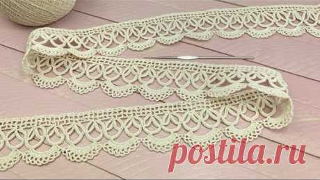 ЛЕНТОЧНОЕ КРУЖЕВО вязание КАЙМА крючком мастер-класс Crochet Tape Lace Tutorial