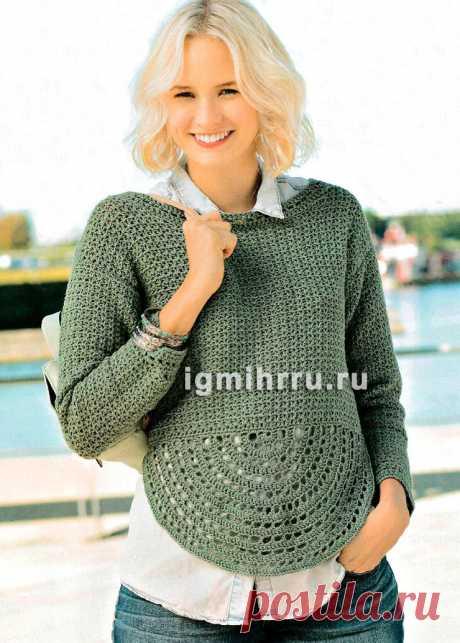 Пуловер с полукруглым мотивом. Вязание крючком со схемами и описанием