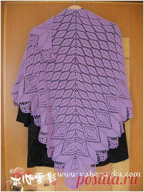 Шаль спицами узором ажурные листья. Схема ажурного узора для шали.