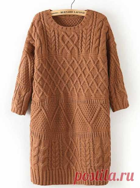 Хаки полорукавный кабель трикотажный длинный свитер | SHEIN