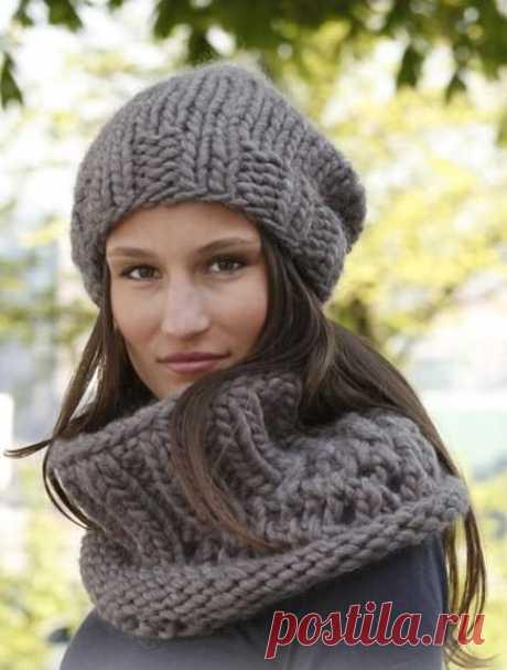Как связать шапку Бини крупной вязкой спицами — 6 моделей