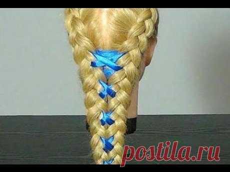 Прическа: Плетение кос с лентой. Ribbon Braid Hairstyle Tutorial - Яндекс.Видео