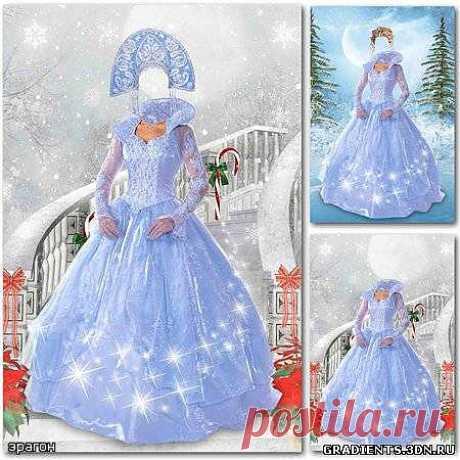 Новогодний шаблон для фотошопа – Снегурочка в платье, скачать бесплатно Новогодний шаблон для фотошопа – Снегурочка в платье без регистрации