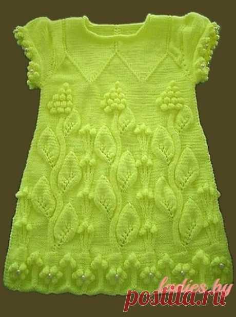 Красивое платье с узором «Виноградная лоза» для девочки 1-2 года (Вязание спицами) | Журнал Вдохновение Рукодельницы