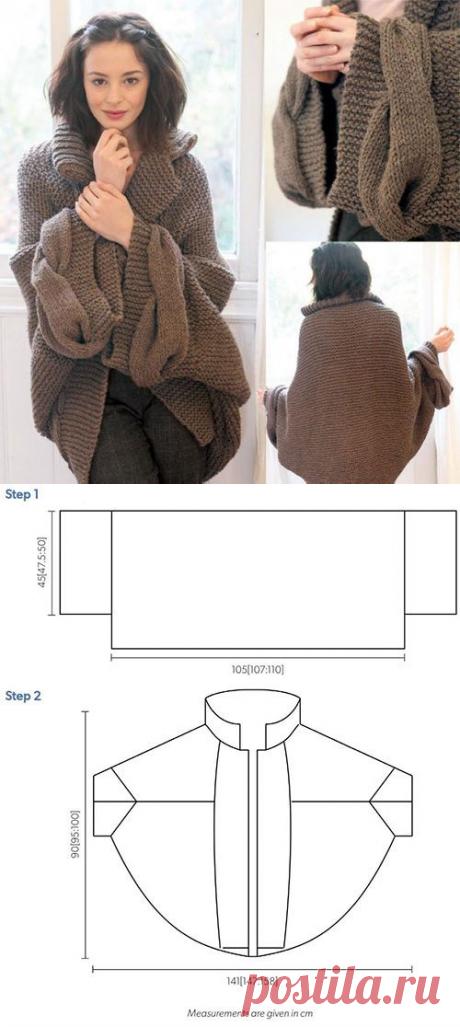 Как связать кардиган кокон спицами для полных и стройных женщин – 4 варианта вязания с описанием и видео