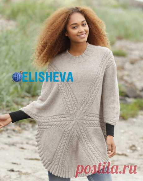 """Women's jumper \""""Sandy Traces\"""" from Drops Design knitted spokes"""