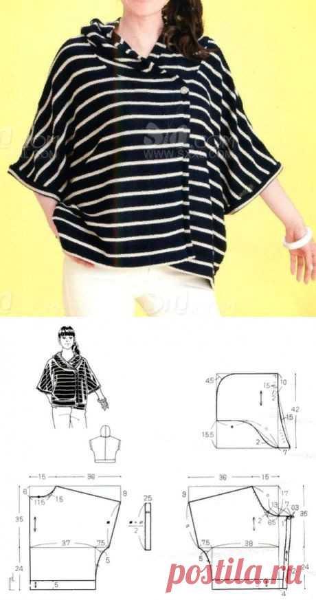 Блузка с капюшоном (выкройка) Модная одежда и дизайн интерьера своими руками