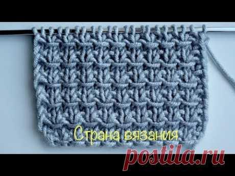 Узоры спицами. Простой узор с перетяжками. Simple pattern
