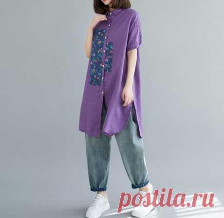 Loose Fitting linen Long shirt Linen single breasted shirt | Etsy