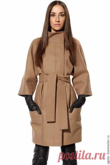 Купить пальто демисезонное (бежевое) - бежевый, однотонный, Красивое пальто, Бежевое пальто, купить пальто