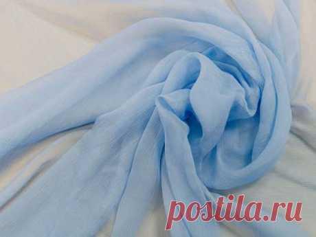 Крэш-шифон (бледно-голубой) - купить ткань онлайн через интернет-магазин ВСЕ ТКАНИ