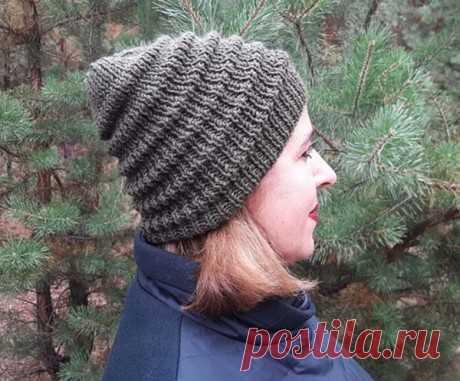 Женская шапка спицами с узором Волна, Вязание для женщин