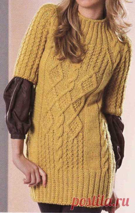 Удлиненный пуловер горчичного цвета