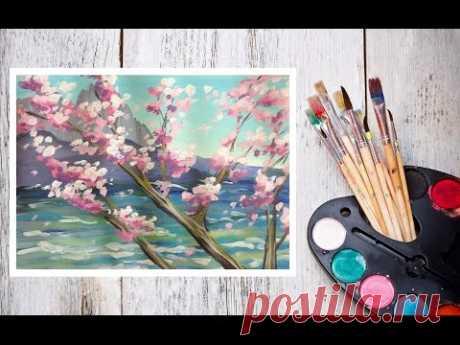Как нарисовать сакуру на фоне скал гуашью! #Dari_Art