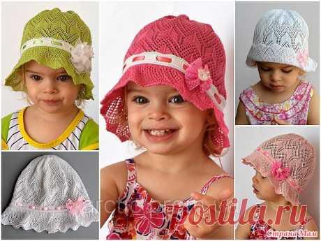Симпатичная шляпка-панамка для девочки спицами.