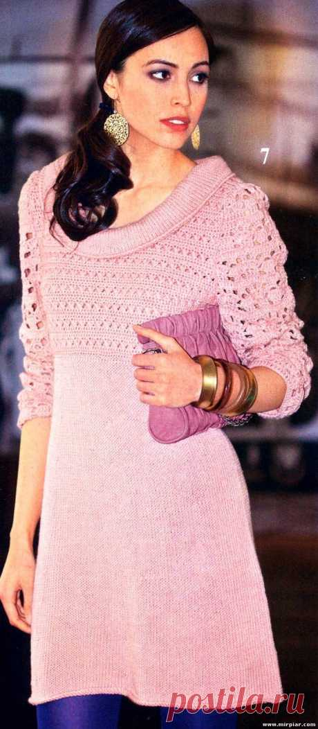 Красивое вязаное платье спицами. Вязание со схемами.