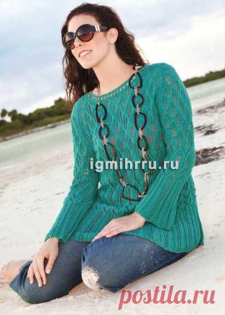 Мода размера PLUS. Сине-зеленый ажурный пуловер. Вязание спицами