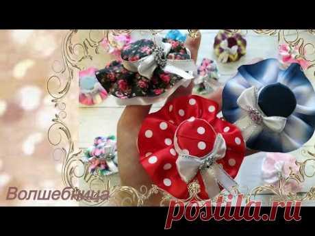 Бантики - шляпки//DIY ribbon bows. Bows - hats.