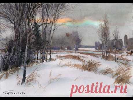 20201225 Снежные поля акварелью. Watercolor snow field
