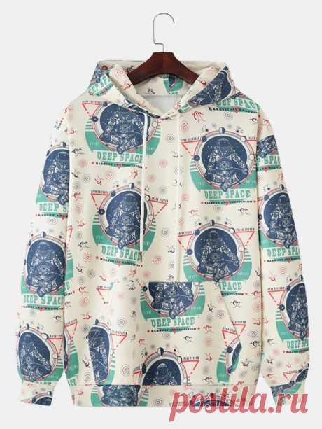 Astronaut Print Long Sleeve Kangaroo Pocket Hoodies For Men - US$29.99
