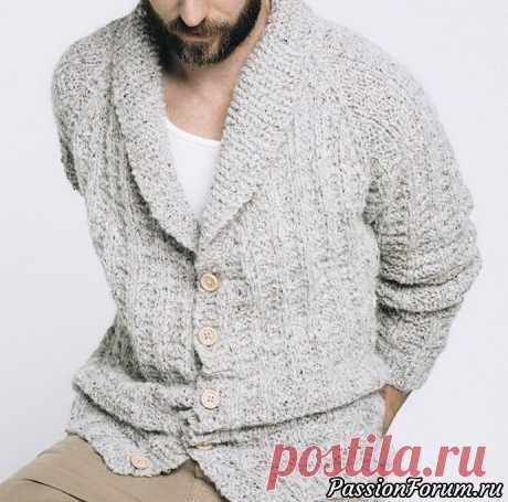 Мужской «домашний» жакет. МК | Вязание для мужчин спицами. Схемы вязания