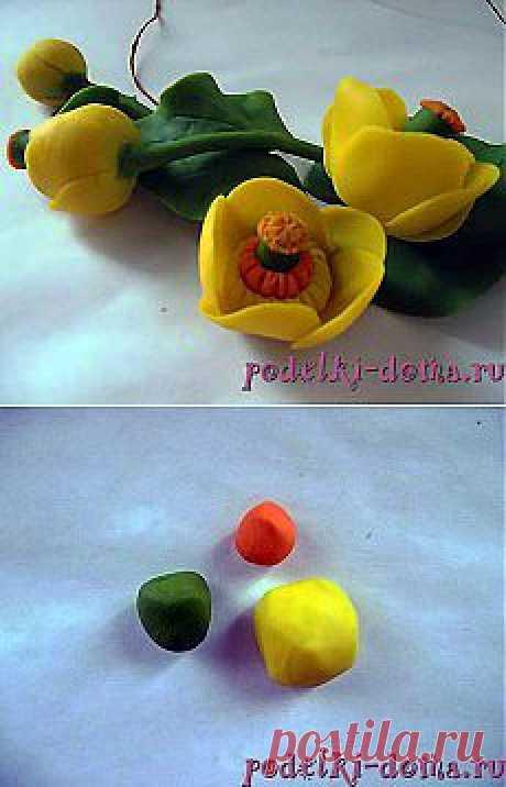 Цветы из полимерной глины: кувшинки (кубышки) | (: креатифф на дому :)